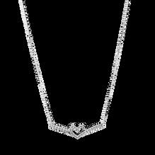 Sparkling Wishbone Heart Collier Necklace