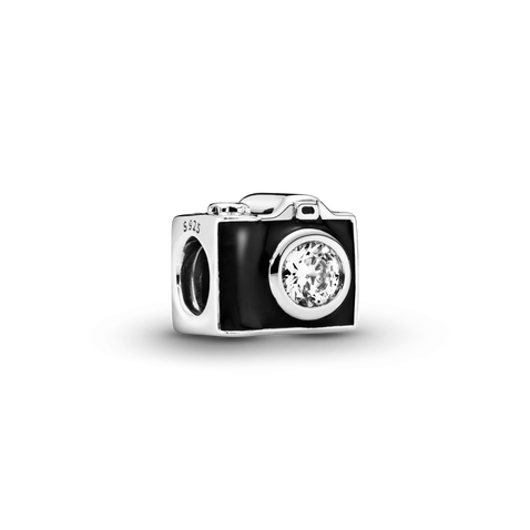 Camera silver charm with black enamel and cubic zirconia