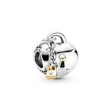 Two-Tone Heart and Lock Charm