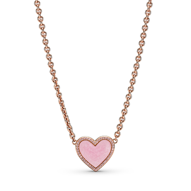Pink Swirl Heart Collier Necklace