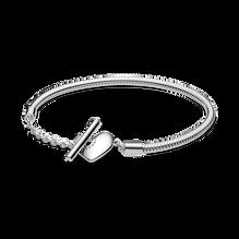Pandora Moments Heart T-Bar Snake Chain Bracelet