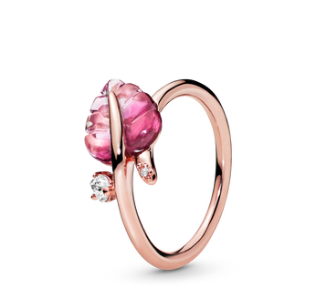 Pink Murano Glass Leaf Ring