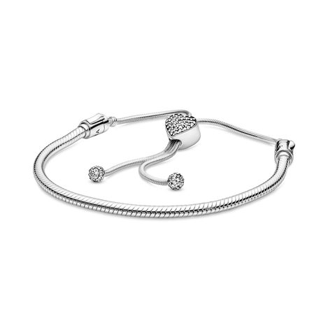 Pandora Moments Pave Heart Clasp Snake Chain スライディングブレスレット