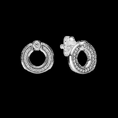 Pavé & Logo Circle Reversible Stud Earrings