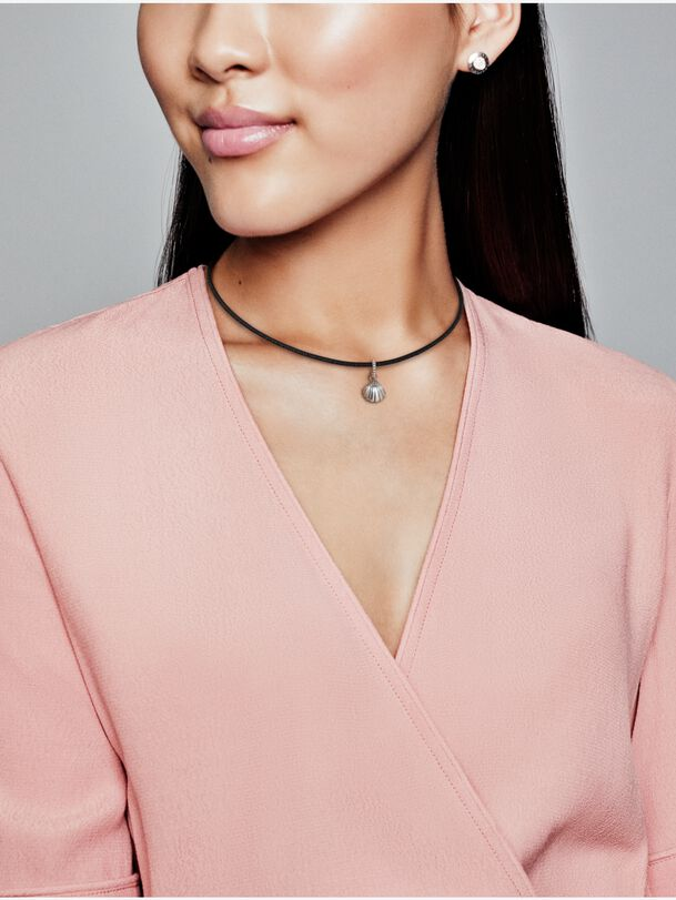 Black Leather Seashell Choker Necklace