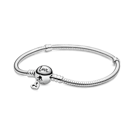 Pandora Moments Freehand Heart Clasp Snake Chain ブレスレット