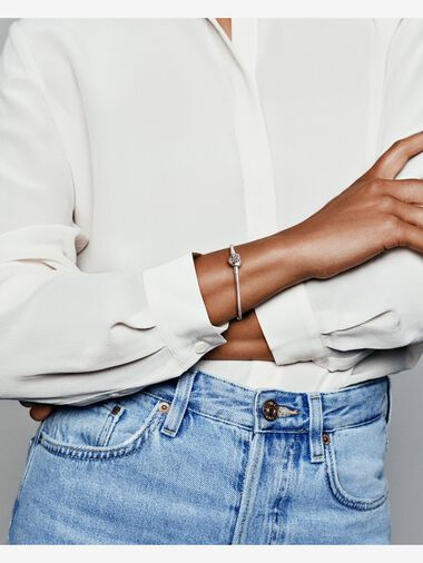 Pandora Moments Family Tree Heart Clasp Snake Chain Bracelet
