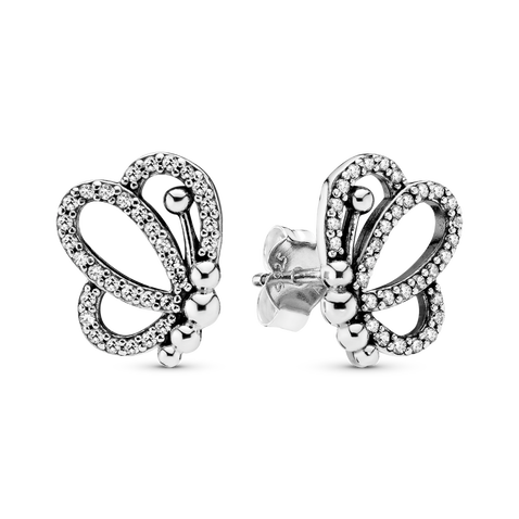 Sparkling Openwork Butterfly Stud Earrings