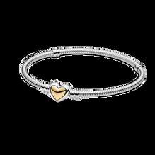 Domed Golden Heart Clasp Snake Chain Bracelet