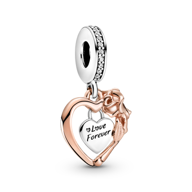 Heart & Rose Flower Dangle Charm