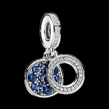 Sparkling Blue Disc Double Dangle Charm