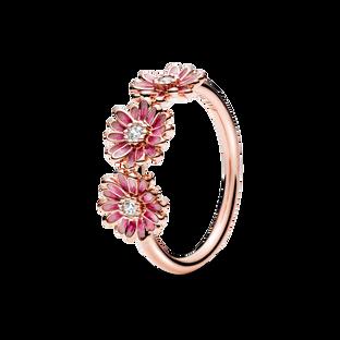 Pink Daisy Flower Trio Ring