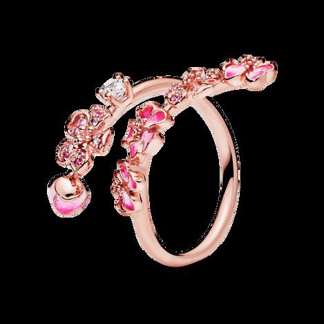 Pink Peach Blossom Flower Branch Open リング