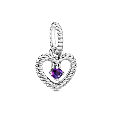 Purple Beaded Heart ダングルチャーム