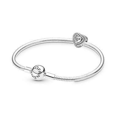 Layered Heart Silver Bracelet & Charm Gift Set