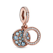 Sparkling Light Blue Disc Double Dangle Charm