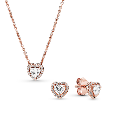 Pandora Rose Elevated Heart Necklace & Earring Gift Set