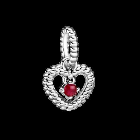 Dark Red Beaded Heart ダングルチャーム