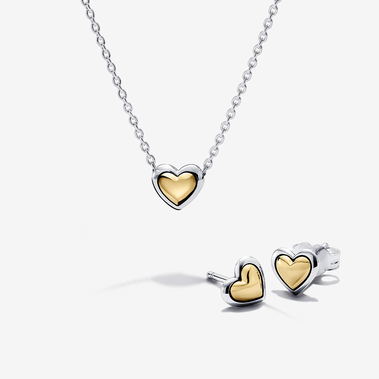 Heart Sterling Silver and 14k Gold Necklace and Earring Jewellery Set