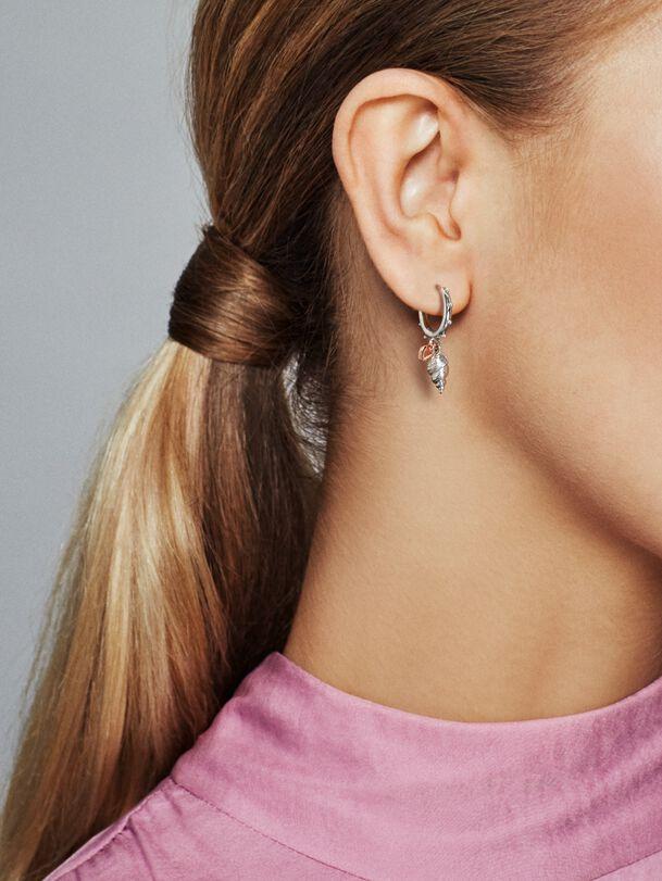 Heart & Conch Shell Hoop Earrings