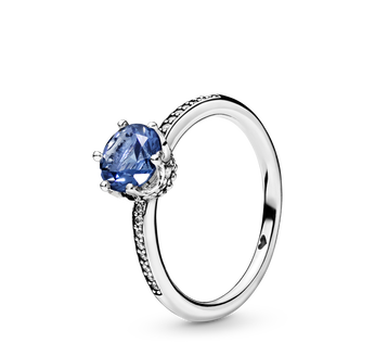Blue Sparkling Crown Ring
