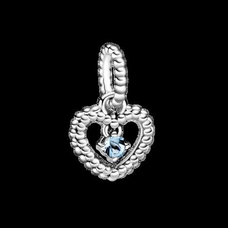 Aqua Blue Beaded Heart ダングルチャーム