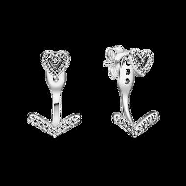 Sparkling Wishbone Heart Stud Earrings