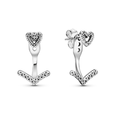 Sparkling Wishbone Heart Stud Earrings