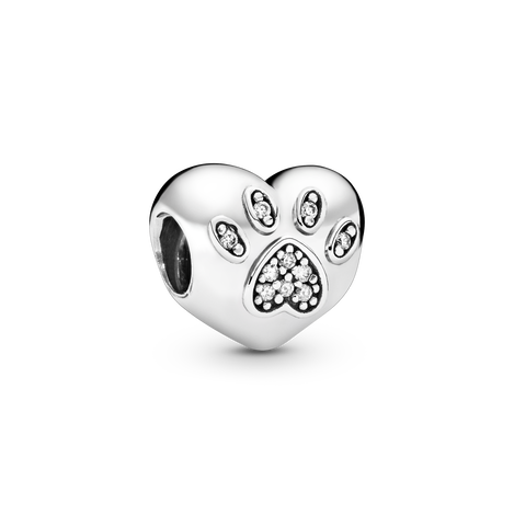 Paw silver charm with cubic zirconia