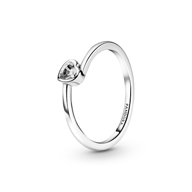 Clear Tilted Heart Solitaire Ring