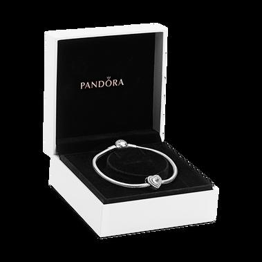 Layered Heart Silver Bracelet & Charm Gift Set