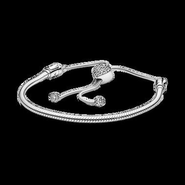 Pandora Moments Pave Heart Clasp Snake Chain スライディングブレスレット